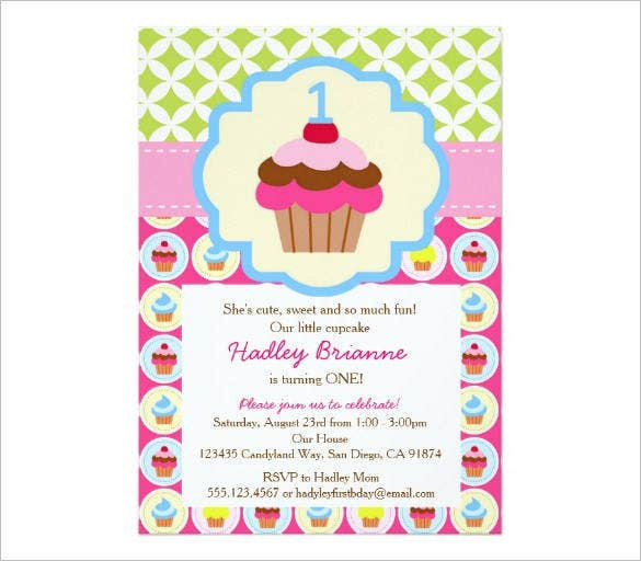 bright cupcake 1st birthday email template1