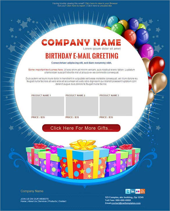 psd birthday greetings email template in 3 styles