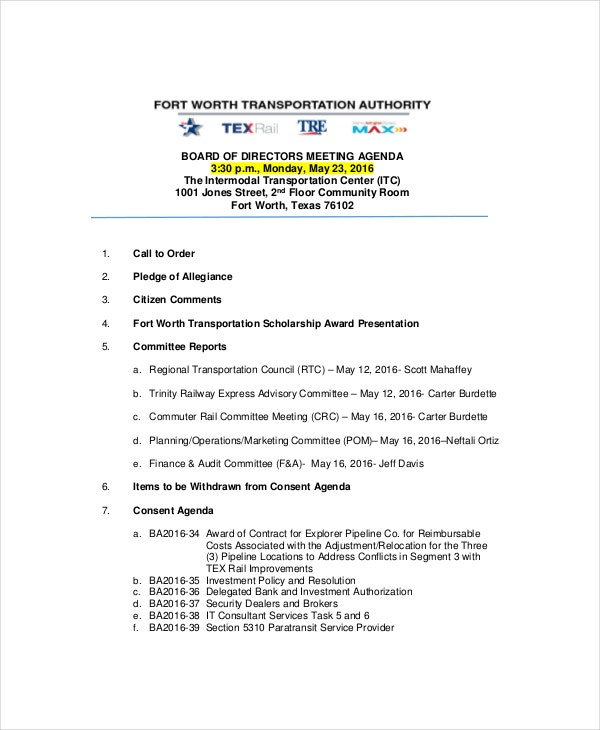 agenda of meeting