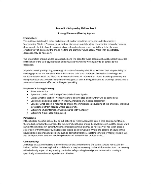 Strategy Meeting Agenda Template 10 Free Word PDF Documents – One on One Meeting Agenda Template