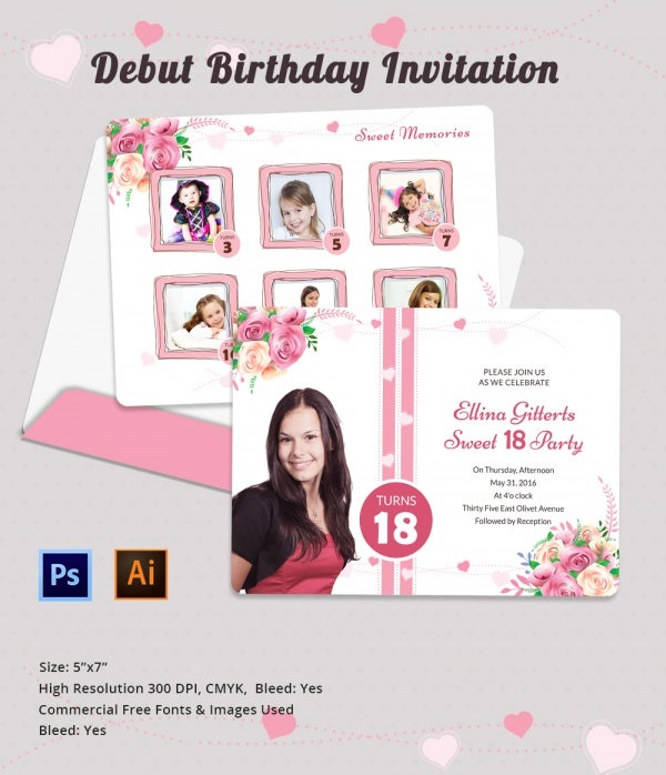 Debut Birthday Party Invitation