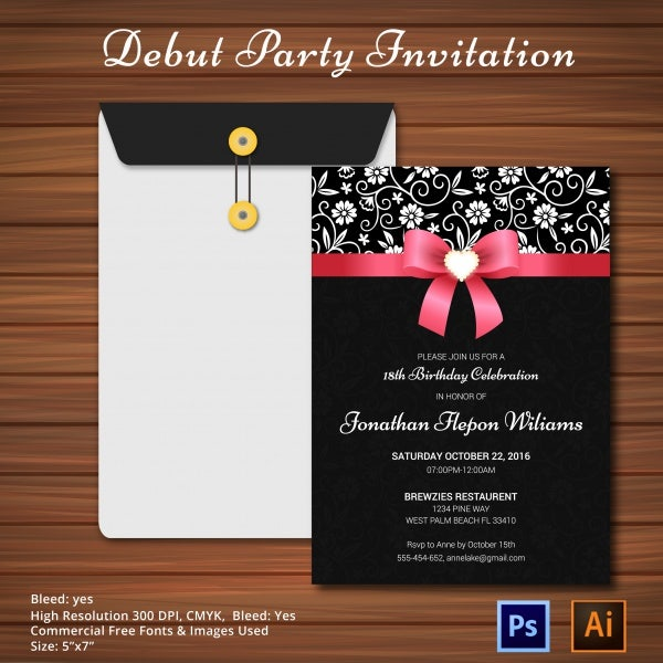 Invitation card debut template invitationswedd invitation card debut purplemoon co stopboris