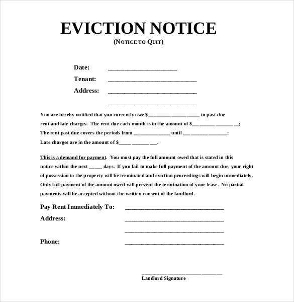 Sample Eviction Notice Templates DOC PDF Free Premium - Formal eviction notice template