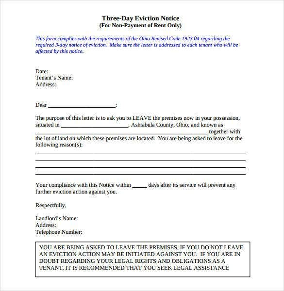 3 Day Eviction Notice PDF Download  Letter Of Eviction Sample