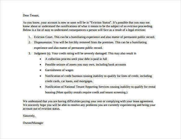 Eviction Notice Templates Eviction Warning Notice Letter