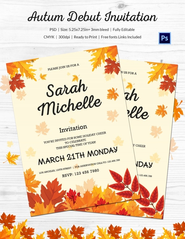 Autum Debut Invitation Template