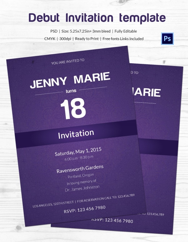 Debut Invitation Template 26 Free Word Pdf Psd Format