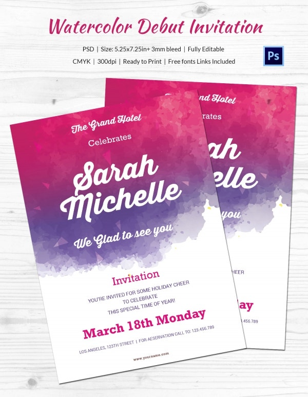 Debut Invitation Template 26 Free Word PDF PSD Format – 18th Invitation Templates