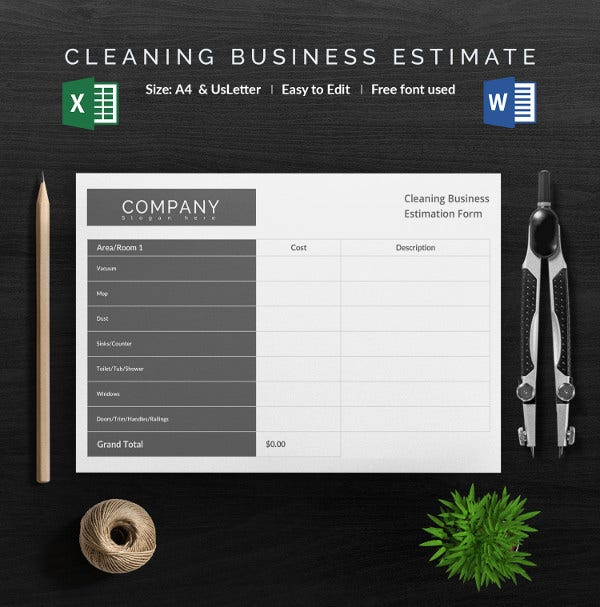 blank cleaning business estimation template