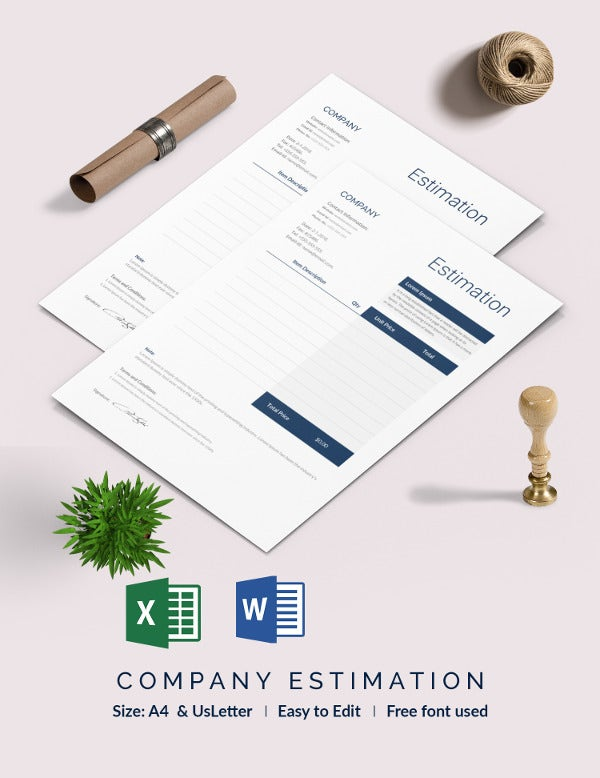 blank company estimation template
