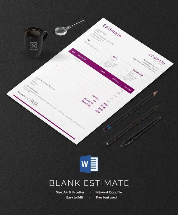 blank estimate sheet template