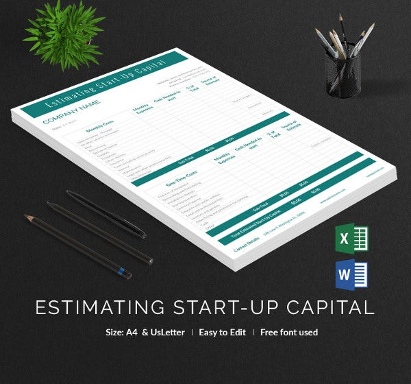 blank estimating startup capital template