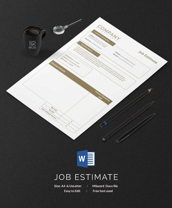blank job estimation template