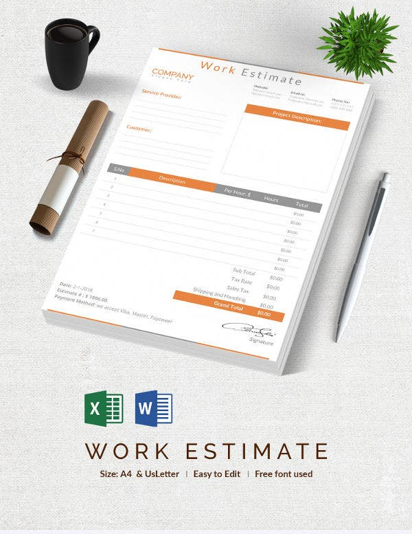 blank work estimation template