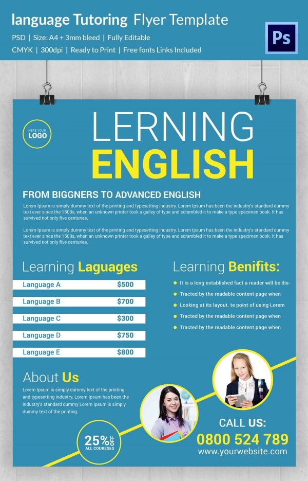 Language Tutoring Flyer Template