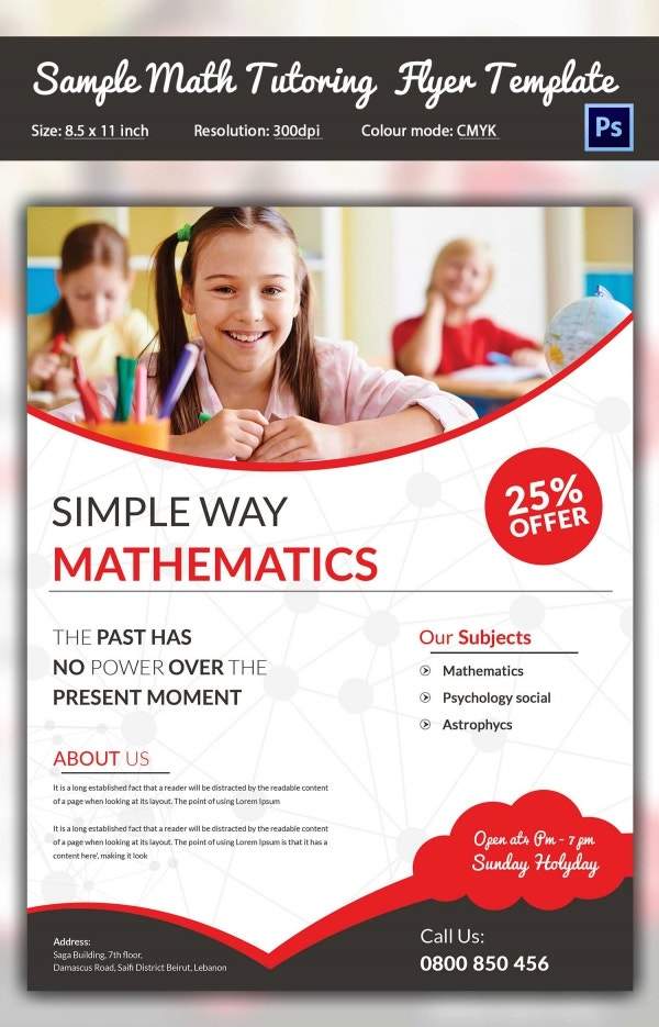 Sample Math Tutor Flyer Template