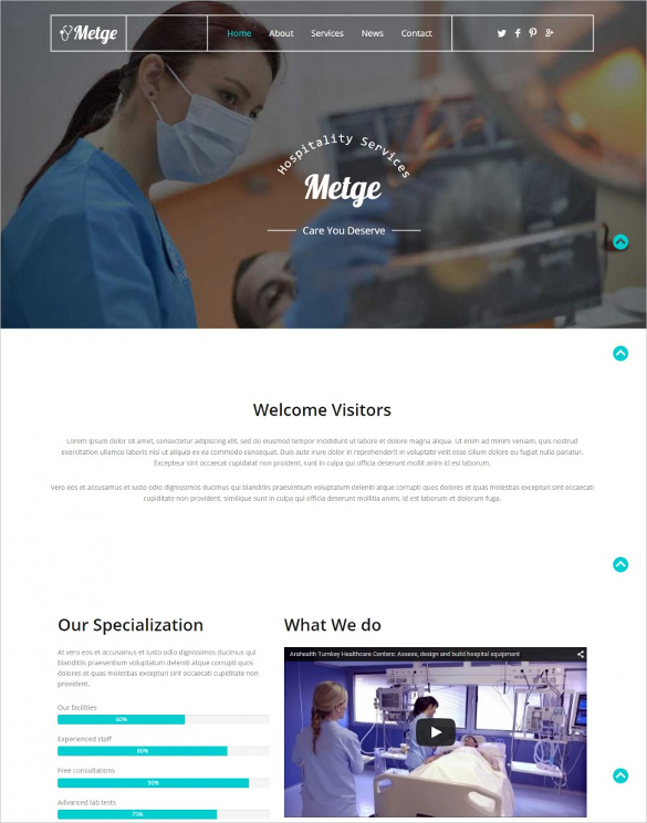 flat design free website template for hospital services