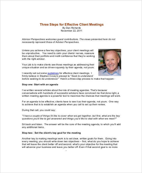 Client Meeting Agenda Templates  Free Sample Example Format