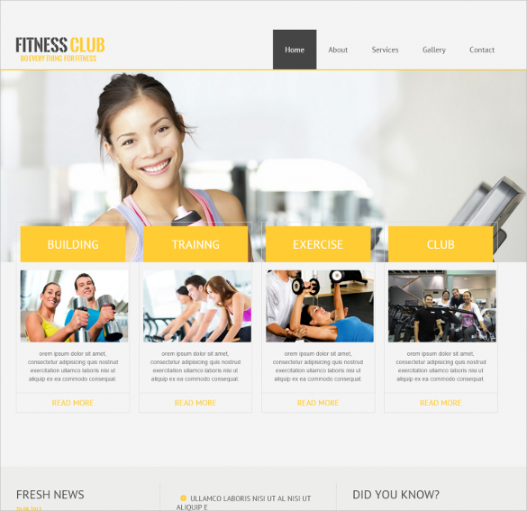 clean neat website template for fitness club1