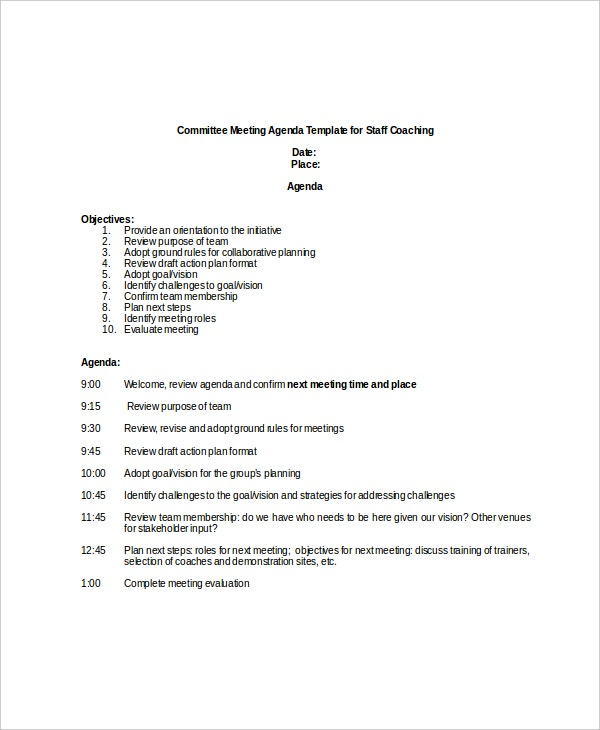 Meeting Agenda Samples Sample Staff Meeting Agenda Format 6 Free – Format of an Agenda