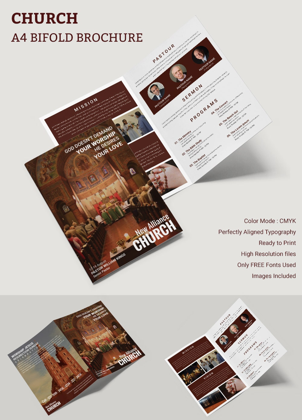 15 popular church brochure templates designs free for Free bi fold brochure templates
