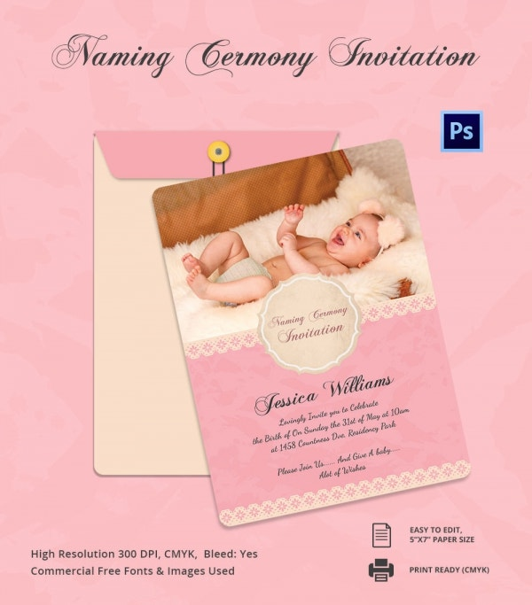 Fully Editable Baby Naming Ceremony Invitation Template