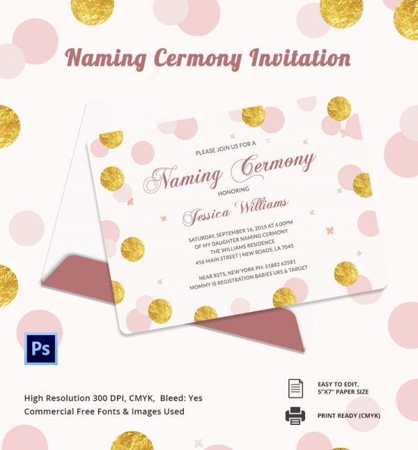 Baby Naming ceremony Invitation Template Download
