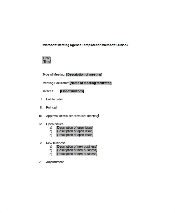 Microsoft Meeting Agenda Template For Microsoft Outlook Example  Microsoft Templates Agenda