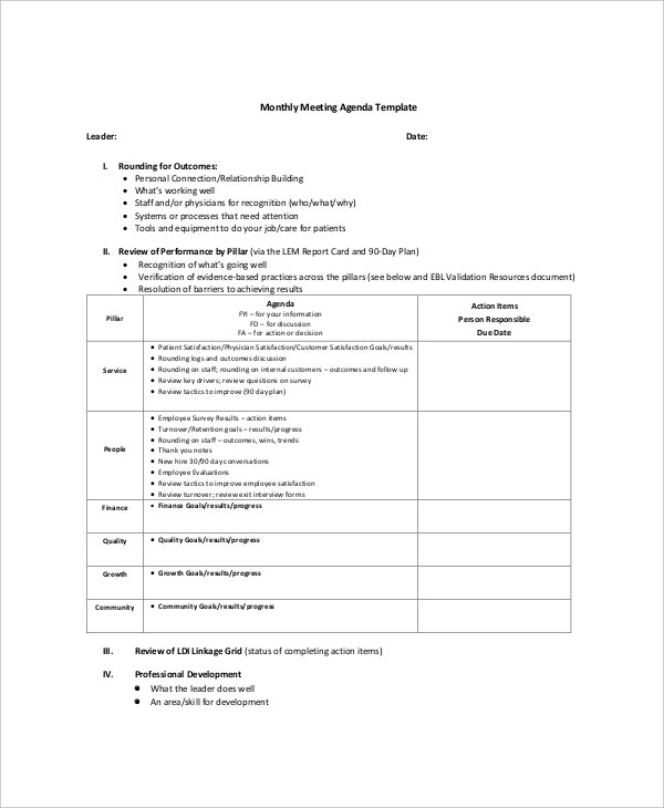 Microsoft Monthly Meeting Agenda Sample Template  Microsoft Meeting Agenda Template