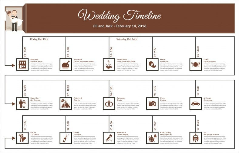 Wedding Timeline Template Free Word Excel PDF PSD Vector - Day of wedding timeline template free