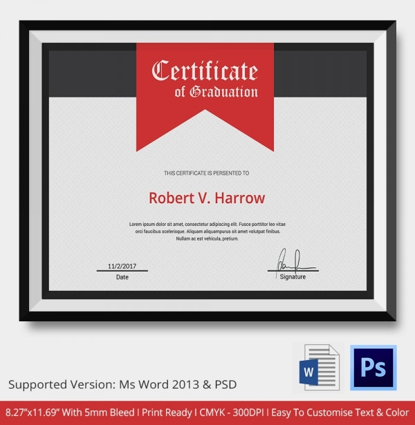 11 Graduation Certificate Templates Word PDF Documents – Certificates of Completion Templates