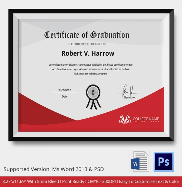 11 graduation certificate templates word pdf documents