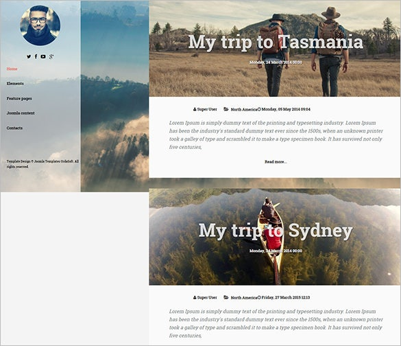 fully responsive joomla traveler blog templat
