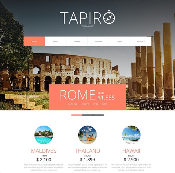 2 columns travel website joomla template1