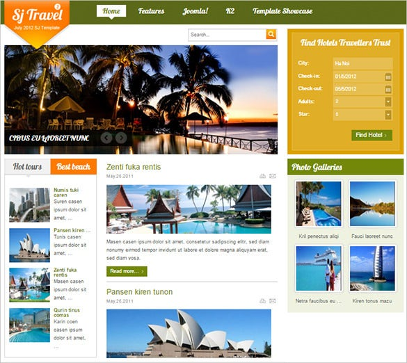 typography supported joomla travel template1