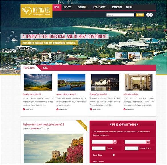 powerfull unique extensions integrated travel joomla theme1