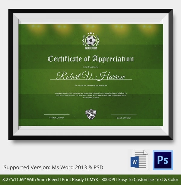 10+ Football Certificate Templates