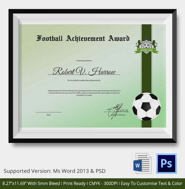 football certificate templates 10 football certificate templates free word pdf