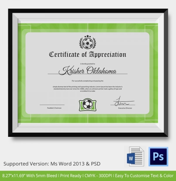 10 Football Certificate Templates  Free Word PDF Documents Download!  Free   Premium Templates