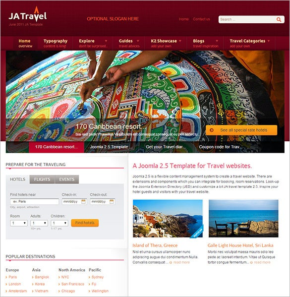 t3 frame work integrated joomla template for travel1