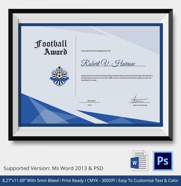 Premium Football Certificate Template