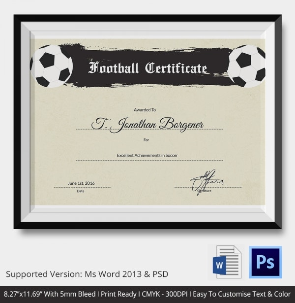 10+ Football Certificate Templates   Free Word, PDF Documents .