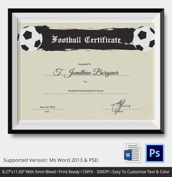 Amazing Football Certificate Templates Illustration Resume Ideas