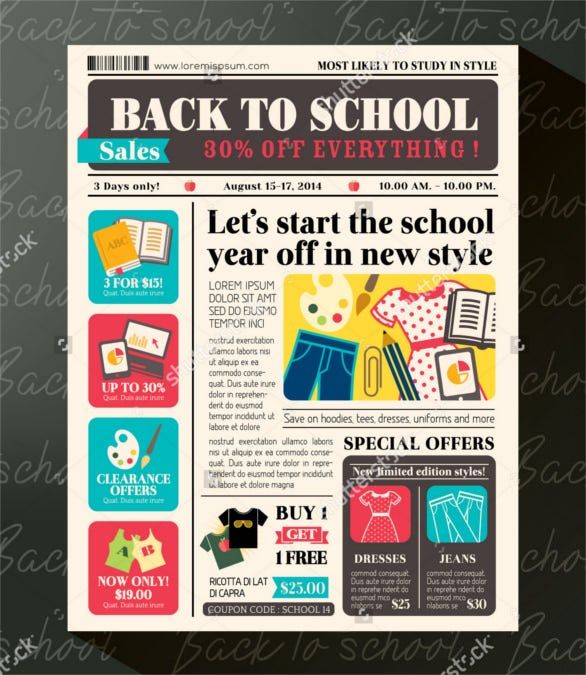 best back to school promotional design newspaper
