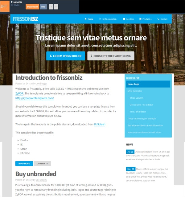 14 free responsive html5 website templates themes for Simple html templates free
