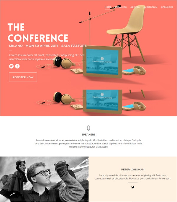 FreeHTML5 Website Template for Conference Landing Page