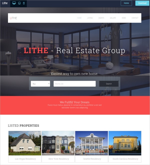 real estate free html5 website theme
