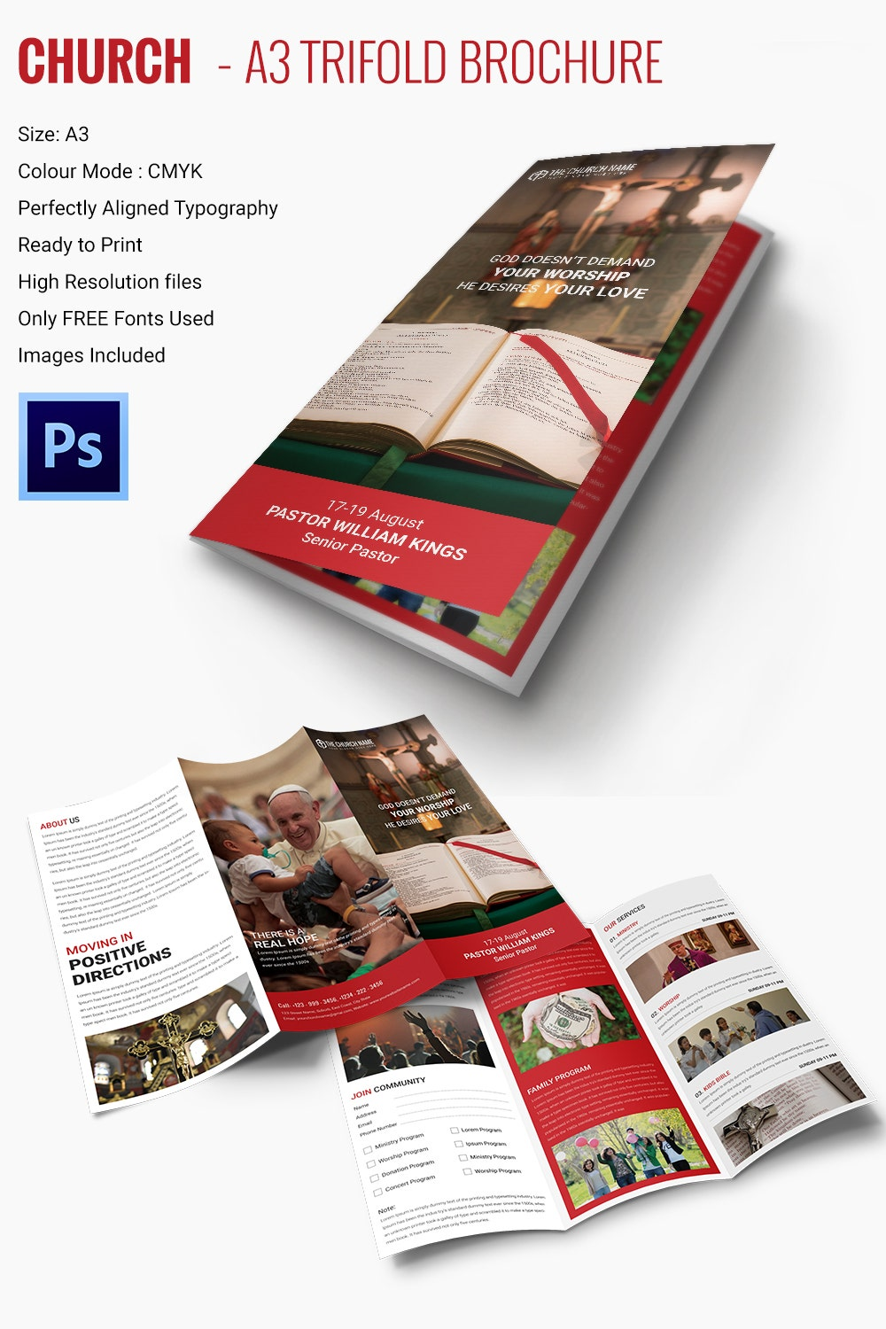 A3 Trifold Church Brochure Template