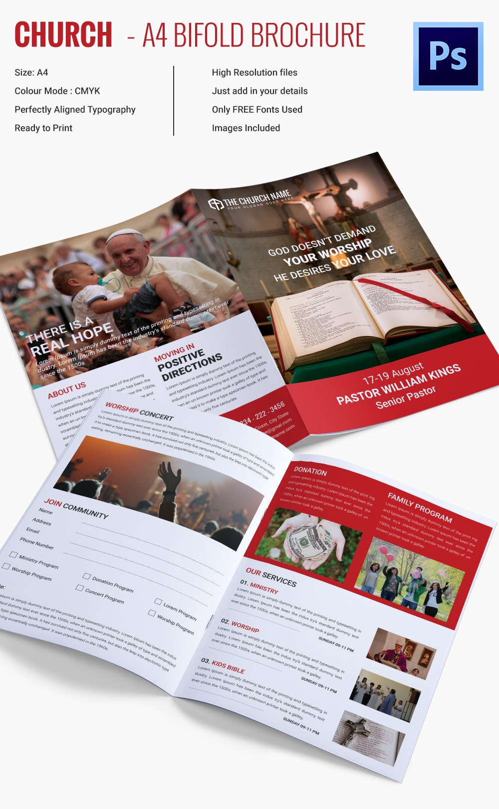 Popular Church Brochure Templates Designs Free Premium - Free church brochure templates