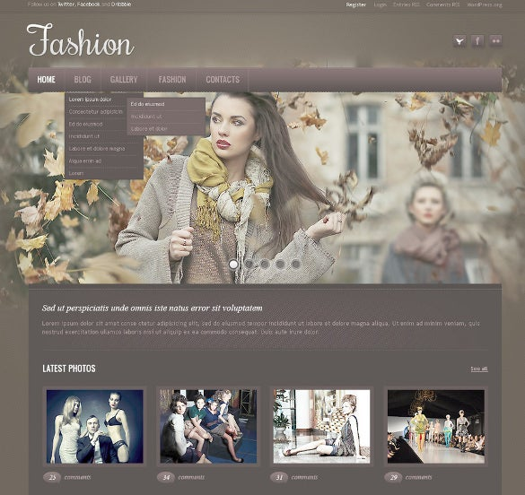 flexible vintage fashion blog psd template